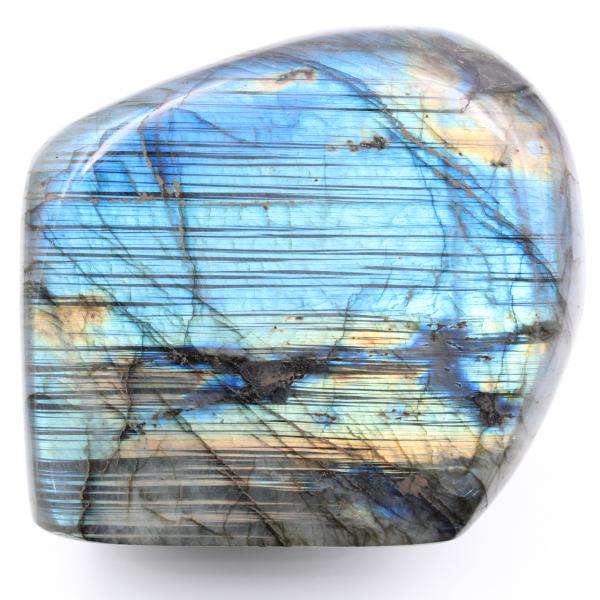 Labradorita con reflejos azules veteados, decoración de forma libre
