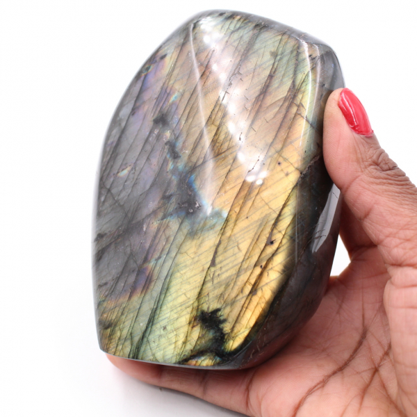 Piedra de adorno de labradorita amarillo púrpura