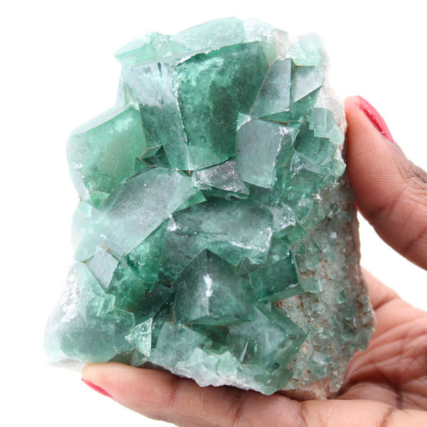 Cristales cúbicos de fluorita verde sobre fluorita masiva