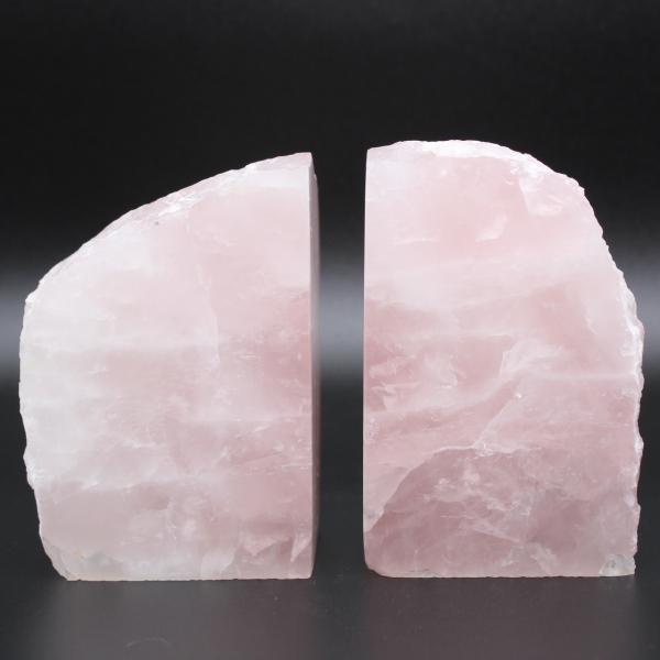 Sujetalibros de cuarzo rosa 2 piezas